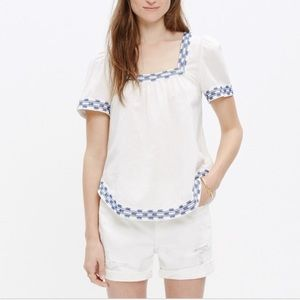Madewell Arrow Stitch Peasant Blouse